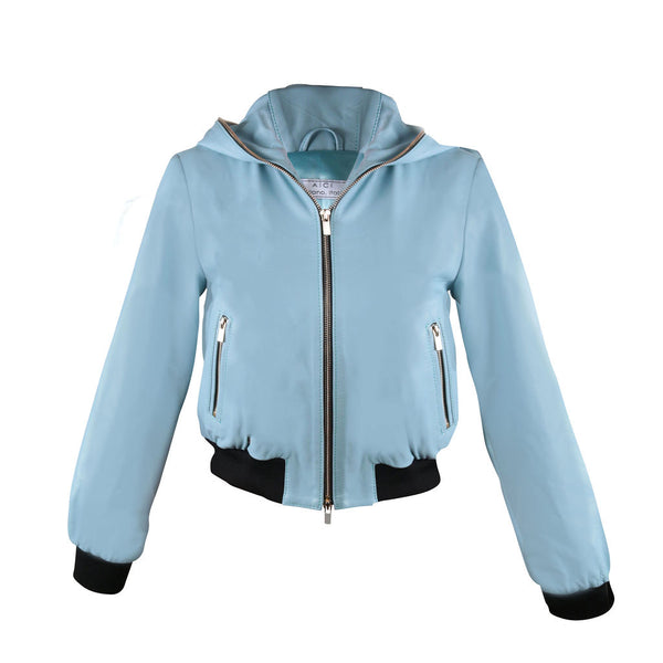 TWO-WAY ZIPPER LEATHER HOODED BOMBER | ARCTIC BLUE