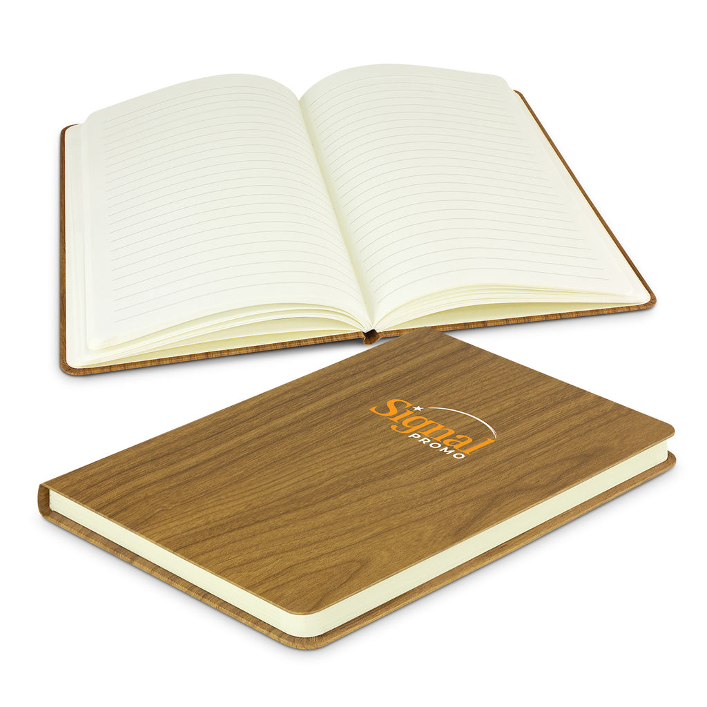 Woodgrain Notebook with Logo Print