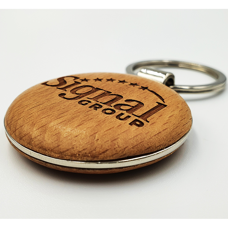 Laser Engraved Beech Wooden Round Keyring