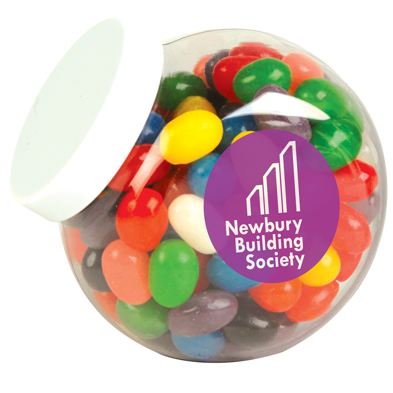 Jar Of Assorted Jelly Beans with Logo Sticker