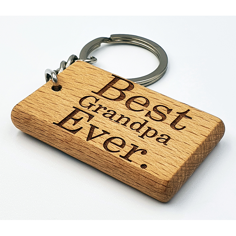 Laser Engraved Beech Wooden Rectangle Keyring