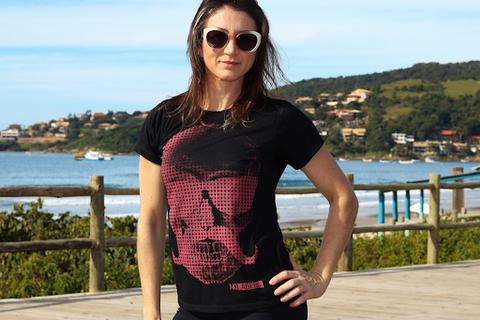 woman wearing a black and red skull shirt
