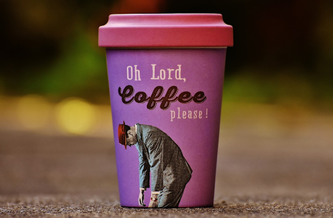 """funny coffee cup """"Oh lord, coffee please!"""""""