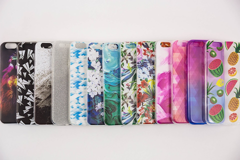 A variety of colorful phone cases