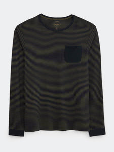 Linwood Organic Long Sleeve Stripe Tee in Green