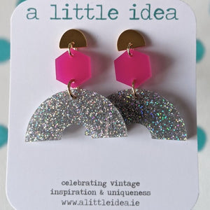 Judy Pink & Silver Glitter Earrings