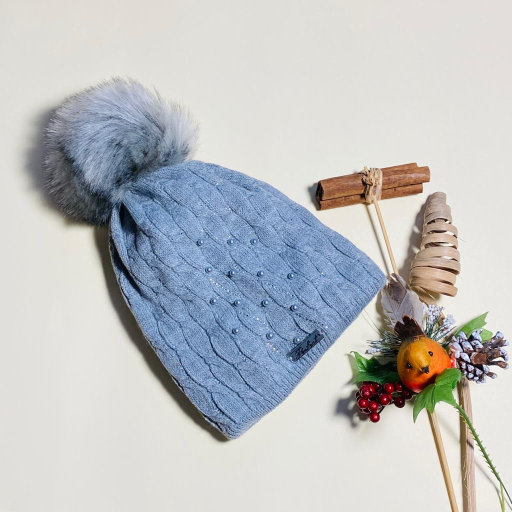 Kids Bead Embellished pom Hat