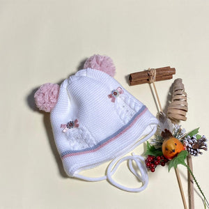 Kids Knitted Hat with Double Pom