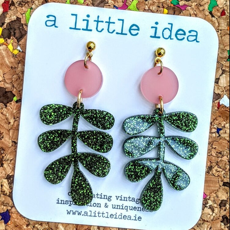 Carmen Frosted Pink, Green Glitter Leaf Earrings