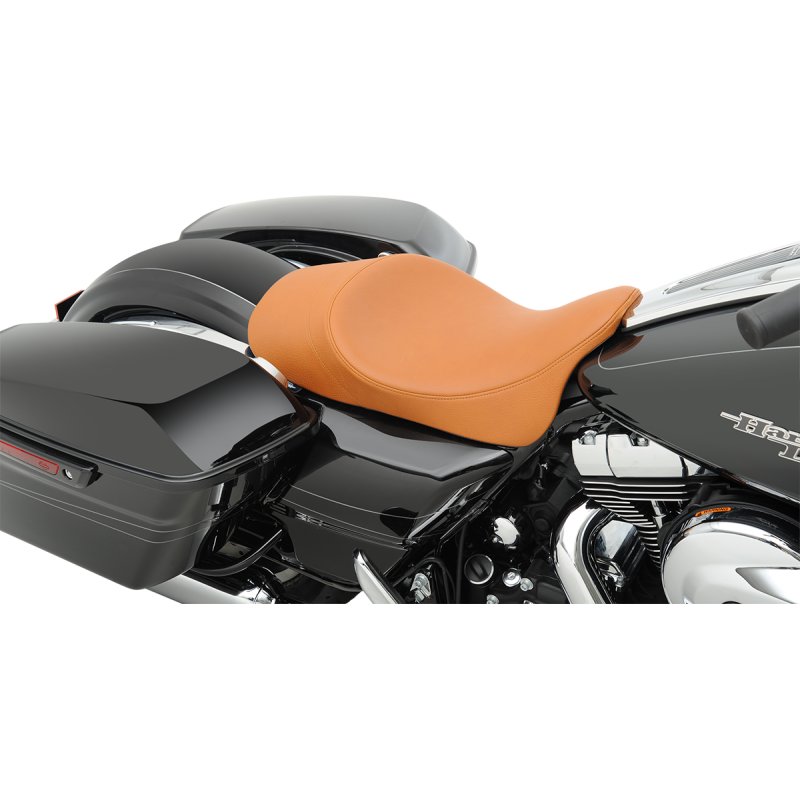 Drag Specialties  Low Profile Brown Faux  Leather Solo Seat with Forward Positioning