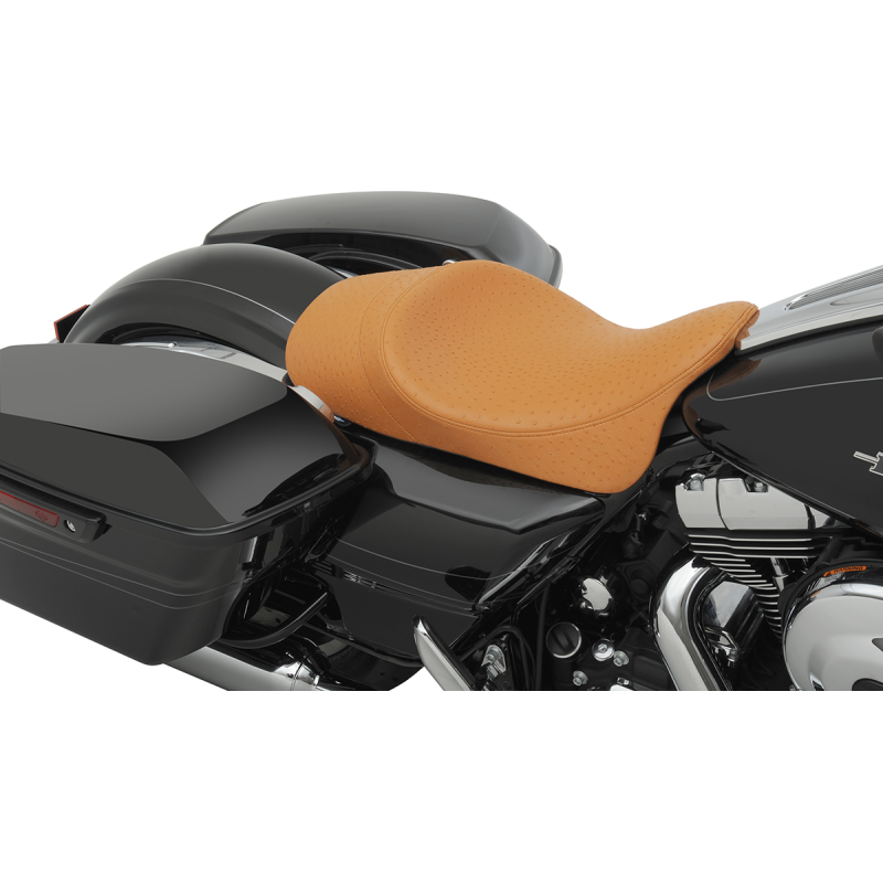 Drag Specialties Low Profile Ostrich Faux Brown Solo Seat with Forward Positioning