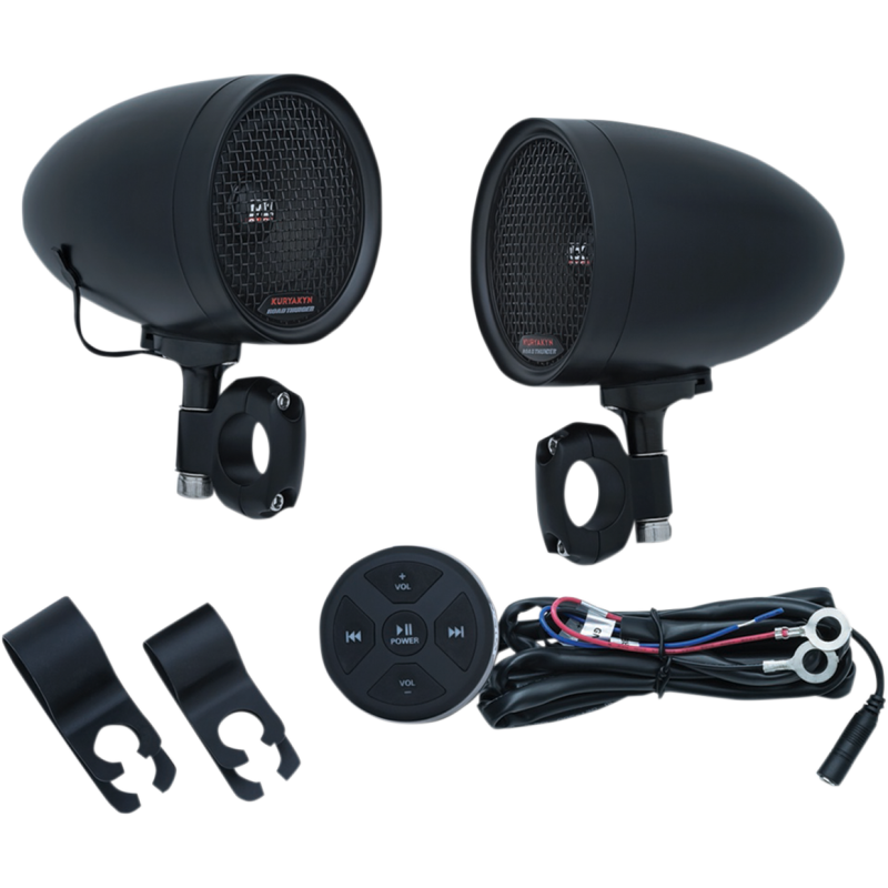Kuryakyn Black  Road Thunder Speaker Pods & Bluetooth Audio Controller by MTX