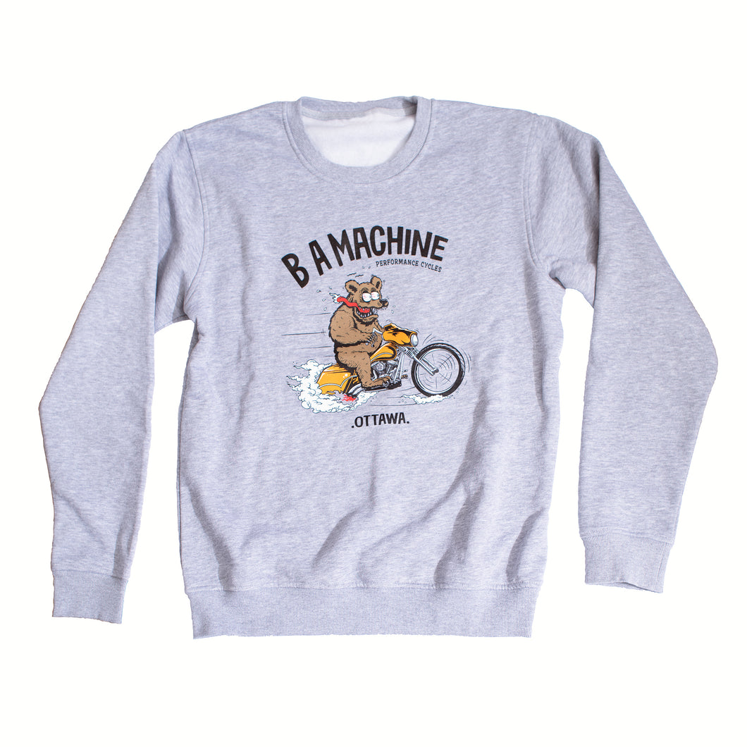BA Machine Unisex Light Grey Bear Fink Crewneck Sweatshirt
