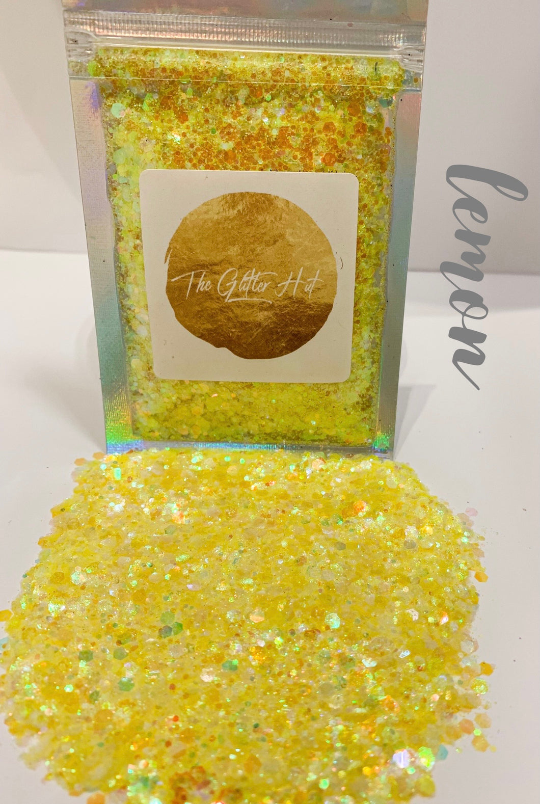 Chunky Fine Mixed Glitter Bag - Lemon