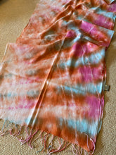 Load image into Gallery viewer, SP109 Tangerine, aqau, pink, peach, lightweight cotton scarf with tassles