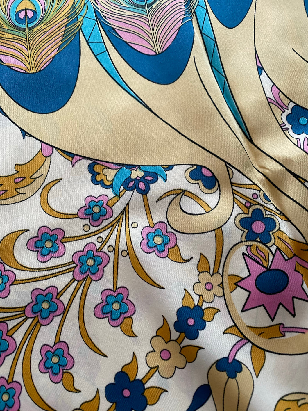 SP138 Classic silk scarf with aqua, shocking pink, cinnamon, beige on banana background