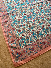 Load image into Gallery viewer, SP133 Pink, blue and coffee pretty floral design on cream, long, silk scarf