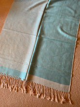 Load image into Gallery viewer, SP111 Fine wool, elegant scarf with tiny print and plain aqua pattern