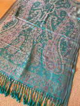 Load image into Gallery viewer, SP116 Aquamarine wool paisley scarf with tassles