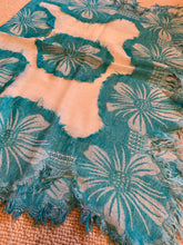 Load image into Gallery viewer, SP101 Large floral turquoise motif on cream wool scarf