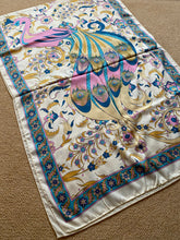 Load image into Gallery viewer, SP138 Classic silk scarf with aqua, shocking pink, cinnamon, beige on banana background