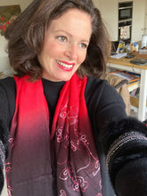 Load image into Gallery viewer, WI129 Scarlet, damson and black embroidered long scarf