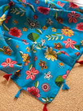 Load image into Gallery viewer, SP117 Turquoise, patterned cotton square scarf with tassles