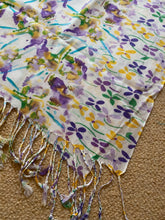 Load image into Gallery viewer, SP139 Pretty patterned floral long scarf in violet, leaf and corn
