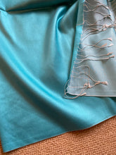 Load image into Gallery viewer, SP110 Pure silk satin, large scale, aqua scarf with tassles