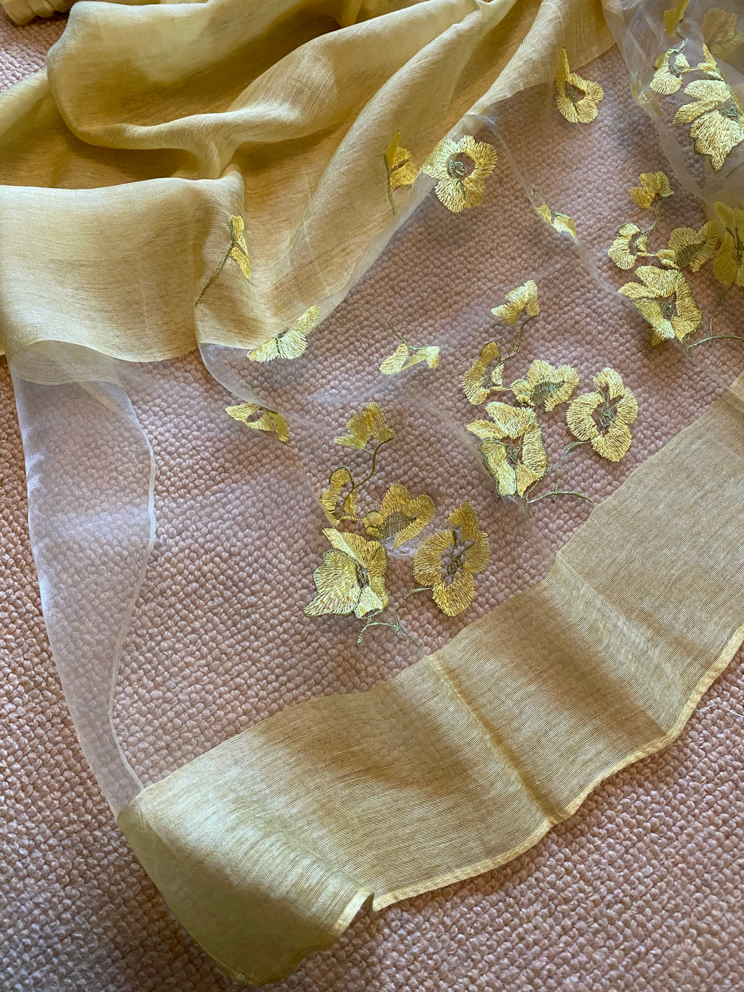 AU121 Yellow ochre glamorous floral, large, long scarf