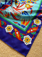 Load image into Gallery viewer, SP118 Silk, floral motif, long scarf in aqua, leaf, bright navy, red, cinnamon