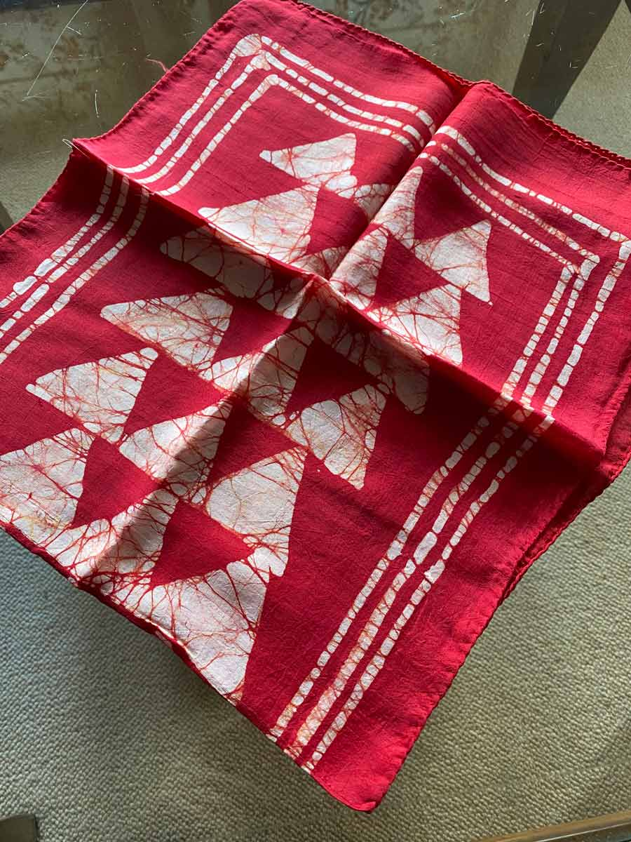 WI101 Stylish, red and stone, angular patterned silk scarf