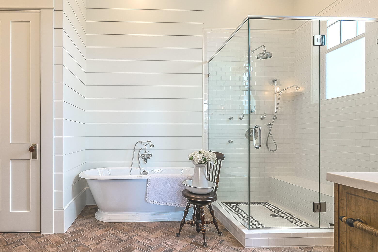 walk in shower with shiplap
