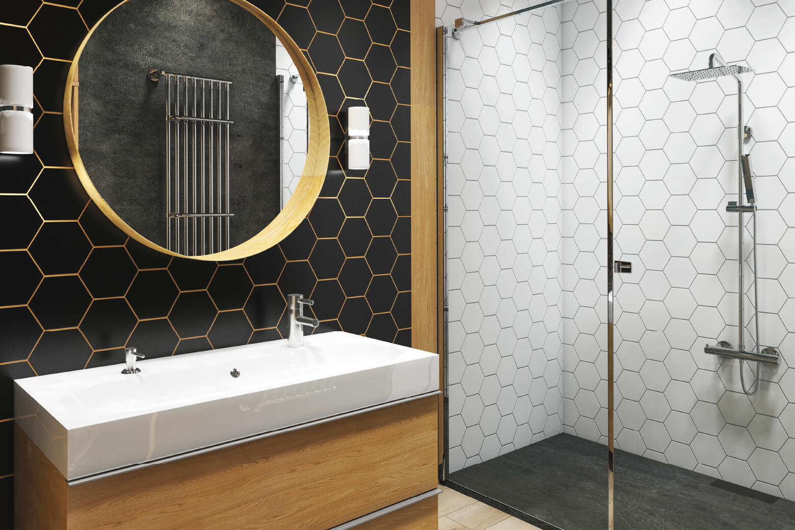 walk in shower with patterned tiles