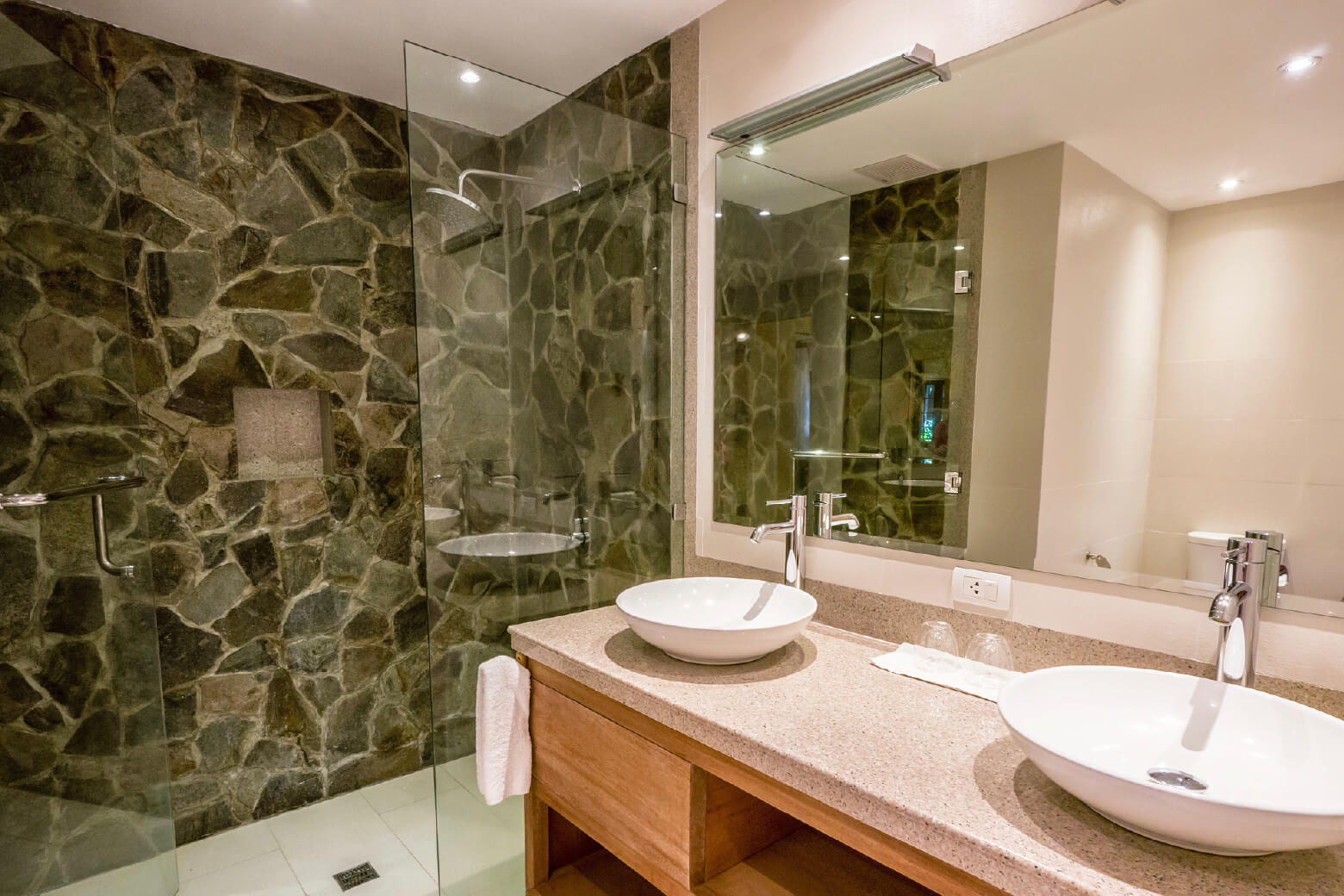 natural stone walk in shower