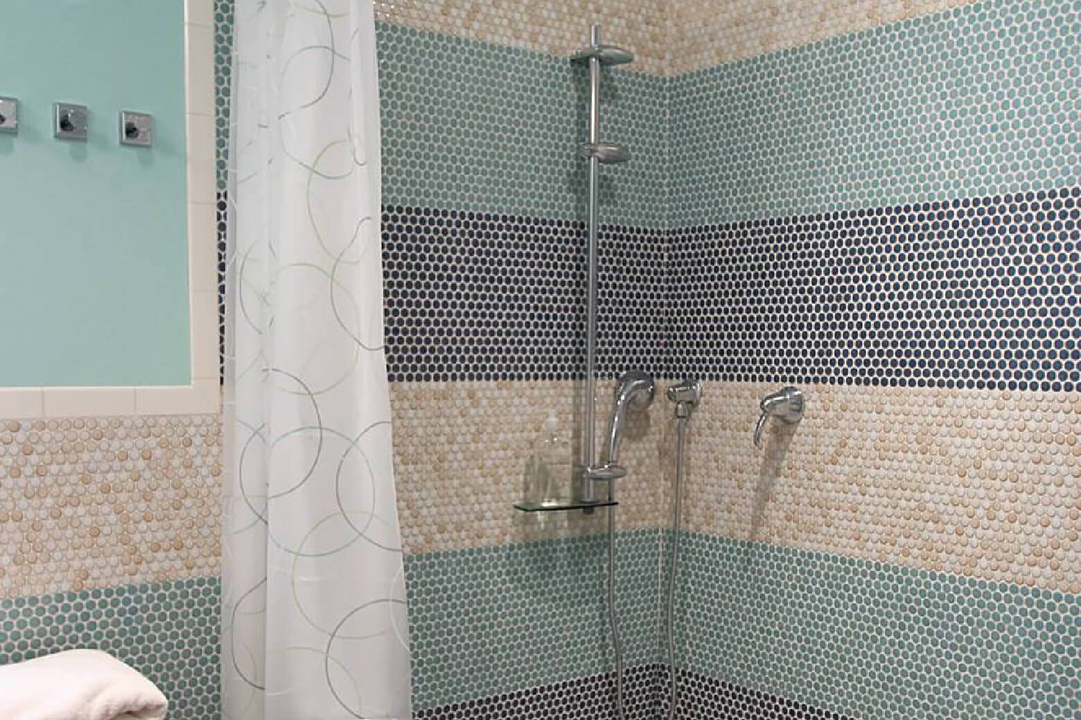 walk in shower with penny tile