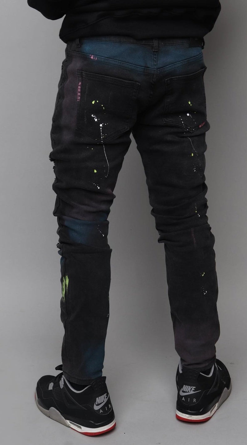 DENIM RIPPED PAINT SPLATTER JEANS - MOON