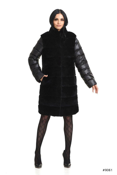 Exclusive waterproof duck down coat with Rex rabbit fur - Manakas Frankfurt