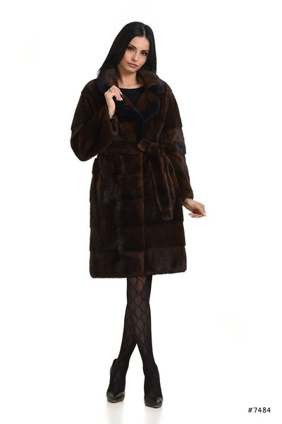 Basic and casual brown mink coat with blue detail - Manakas Frankfurt