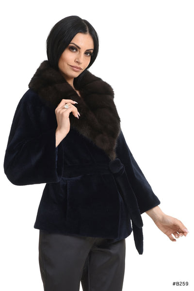 Classy sheared mink jacket with sable collar - Manakas Frankfurt