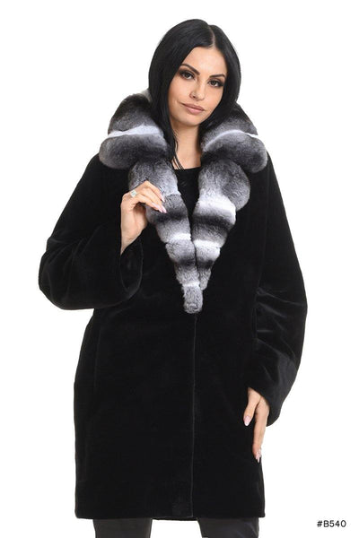 Sheared mink coat with chinchilla collar - Manakas Frankfurt
