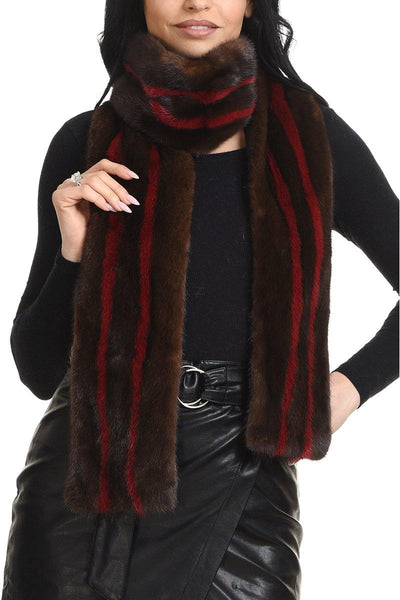 Mink scarf with small color contrast stripes - Manakas Frankfurt