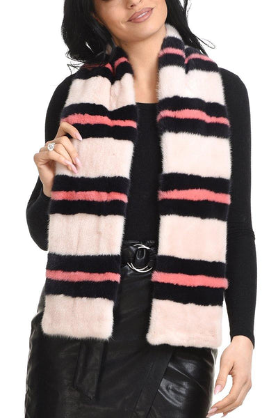 Colorful mink scarf with stripes design - Manakas Frankfurt