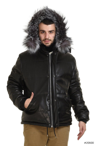 Sportive Men reversible leather and mink jacket - Manakas Frankfurt