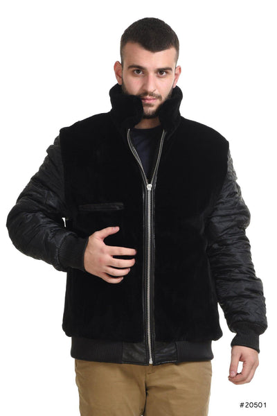 Men's reversible mink and leather bomber jacket - Manakas Frankfurt