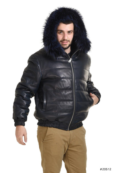 Men hooded reversible leather jacket with mink insides - Manakas Frankfurt
