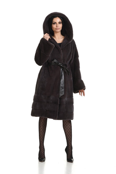 Hooded mink coat with leather belt - Manakas Frankfurt