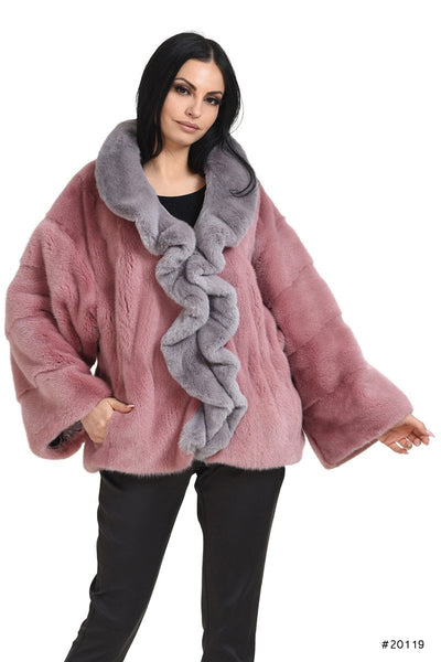 Mink jacket with front rouches - Manakas Frankfurt