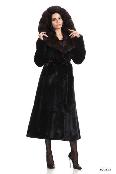 Long mink coat with sable hood - Manakas Frankfurt