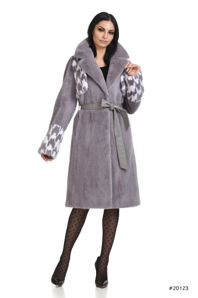 Mink coat with pied de poule details in chest and cuffs - Manakas Frankfurt